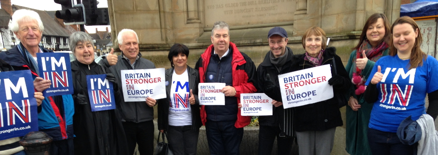 Stratford-on-Avon Green Party members sporting 'Britain Stronger In Europe' and 'I'm In' t-shirts and posters